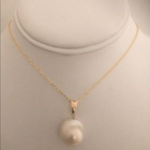 AAA White Flameball Pearl on Gold Chain